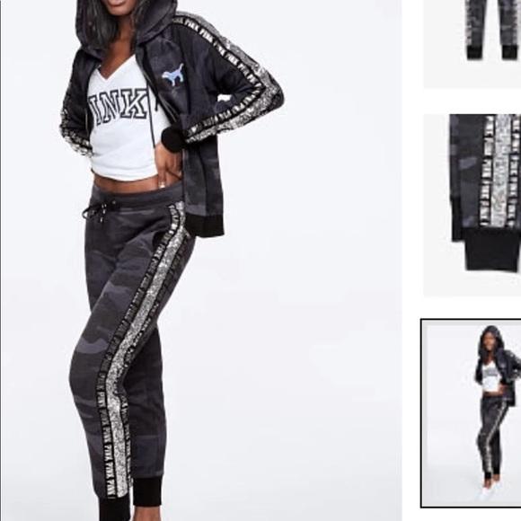 50da4b3d6d02f Tracksuits & Sets Victoria Secret PINK Navy Blue Camo/Camouflage Slim  Skinny Jogger Pockets L